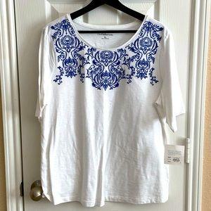 Croft & Barrow Embroidered White T-Shirt sz XL NWT